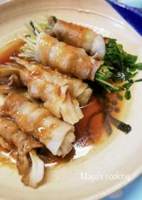 豆苗、舞茸の豚しゃぶ用肉の肉巻き