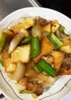 厚揚げ、豚ばら玉ねぎ小松菜であんかけ炒め