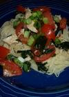 トマトの冷製パスタ(鶏胸肉&ワカメ)