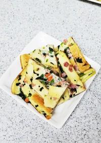 野菜たっぷり。卵焼き器でパン耳キッシュ