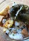 納豆とちくわ・卵焼きの混ぜご飯