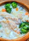 手羽中の豆乳味噌スープ
