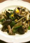 茸と長葱の葉の炒め物