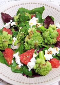 苦い野菜とフルーツのサラダ