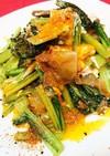 小松菜と搾菜(ザーサイ)の玉子とじ