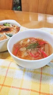 野菜たっぷりコンソメスープの写真