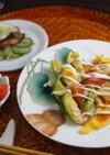 芽キャベツ、イカ、ガリのお好み焼き風