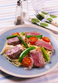 サーロインと春野菜のマリネパスタ