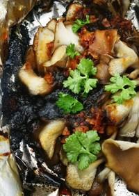 アウトドアで舞茸の磯海苔ホイル焼き