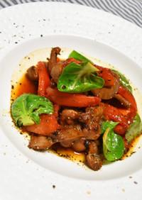 トマトと砂肝のバルサミコ醤油炒め
