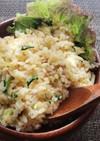 ツナキャベツ、ブロッコリ葉のにんにく炒飯