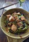 小松菜、厚揚げ、豚肉の中華煮