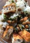 納豆とカリカリがんもの混ぜご飯