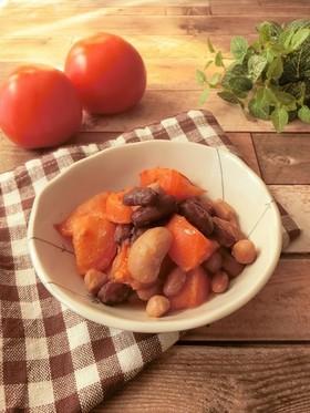 トマトと豆のカレーバター炒め