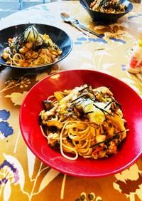 鶏挽き肉とタラと野菜の簡単和風パスタ