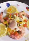 海老と帆立のレモンバターソース添え