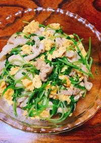 ふわふわ卵と豚肉の豆苗炒め