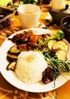 照り焼きチキンと野菜の簡単ワンプレート