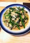 牡蠣と菜の花のガーリックバター炒め