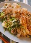 カサ増し★豆苗と豚肉のお豆腐チャンプルー