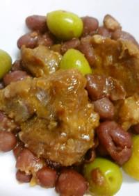 赤インゲン豆と塩豚肉のリンゴジュース煮