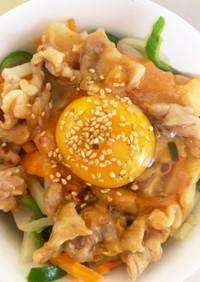 全てレンジすき家風キムチ生姜焼き丼