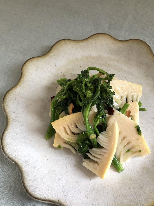 菜の花と筍のペペロンチーノ風