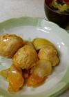 鶏団子の黒酢仕立て&キャベツワカメの味噌