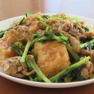 豚こま切れ肉と豆腐と水菜のだし醤油炒め