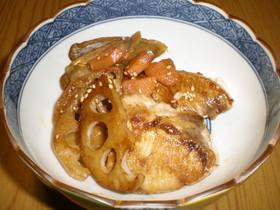 ぶりと根菜のピリ辛照り焼き