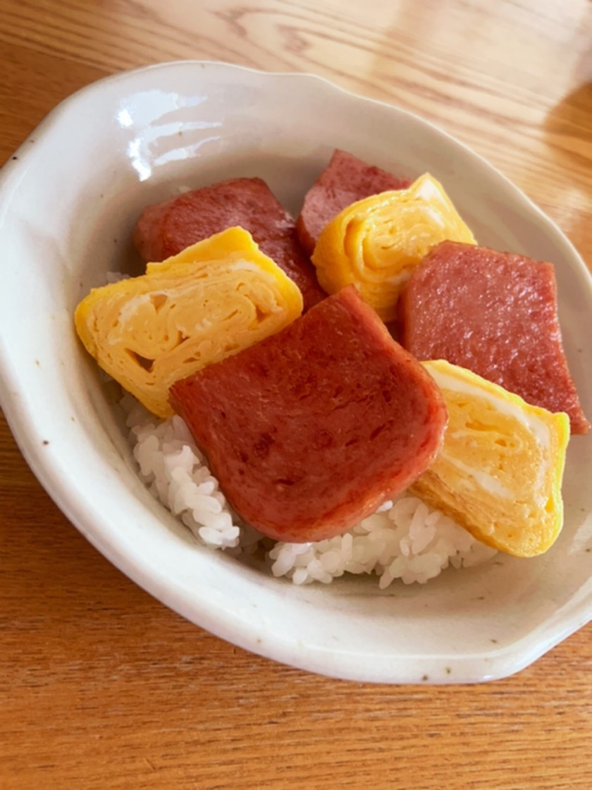 ガッツリ旨い白米進む☆スパムと卵のっけ丼