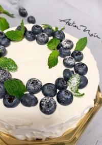 ブルーベリージャムでレアチーズケーキ