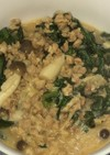 大豆挽き肉と春菊のピリ辛胡麻和え