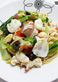 水蛸と小松菜のパスタ