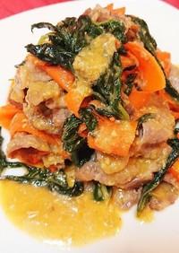 明日葉と豚肉の生姜味噌炒め