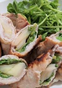 新生姜の豚肉巻き2種(チーズ、豆苗)