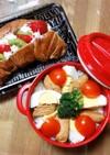 お弁当ささみの照り焼き丼とフルーツサンド