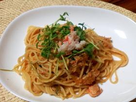 蟹と豆苗のパスタ