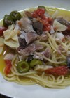 魚とオリーブ、トマトのパスタ