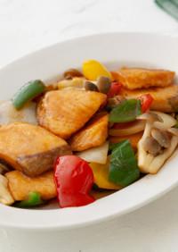 サーモンとカラフル野菜の甘酢炒め
