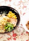 しょうゆ味ラーメン揚げ玉のせ☆納豆つけ麺