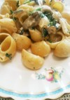 牡蠣とキノコのパスタ ブルーチーズソース