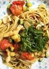 夏野菜とエリンギのさっぱりバジルパスタ