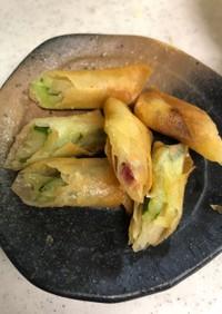 千切りきゅうりと生姜の春巻