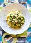 うすい豆と鶏ミンチのクリームパスタ