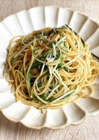 レンジでできる!しらすと水菜の和風パスタ