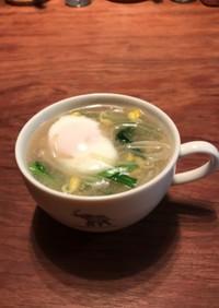 もやしの温玉スープ(失敗した温泉卵の救済
