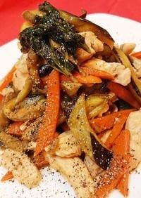 明日葉と鶏ささみの中華風炒め