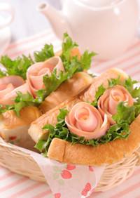 母の日☆花束ハムとチーズのお花サンド♪