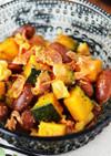 かぼちゃと金時豆のカレー風味マリネ